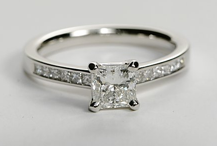 Channel Set Princess Cut Engagement Ring Engagement Ring