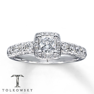 Kay Jewelers 1 Carat Princess Cut Engagement Ring in 14K White Gold
