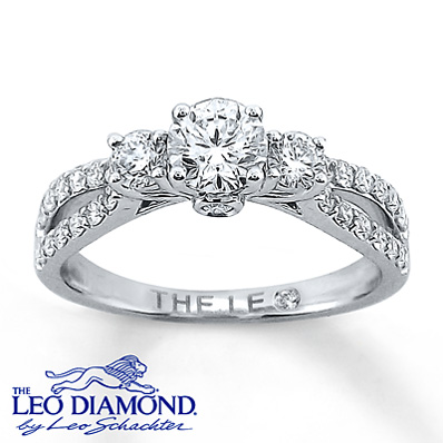 14k White Gold Engagement Ring with Leo Diamonds Engagement Ring