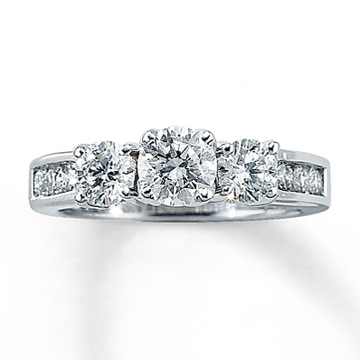 Kay Jewelers 15 ct tw ThreeStone Engagement Ring in 14k White Gold