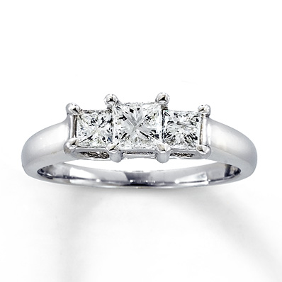 Kay Jewelers 1 ct tw Three-Stone Princess Cut Engagement Ring in 14K ...