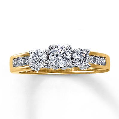 14k Yellow Gold Three Stone Diamond Ring Engagement Ring