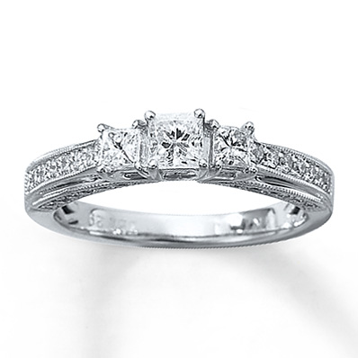 15184ae01 Kay Jewelers 7/8 ct Princess-Cut Three-Stone Engagement Ring in 14K White  Gold | Engagement Ring Wall