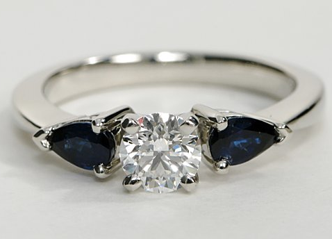 Engagement Ring With Pear Shaped Sapphire Sidestones
