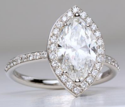 Marquise Pave Halo Engagement Ring Engagement Ring Wall