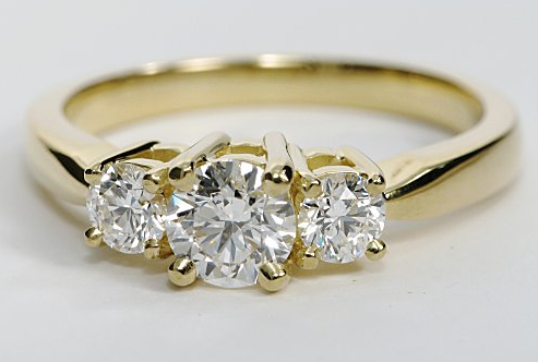 Yellow Gold Three Stone Diamond Engagement Ring