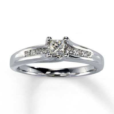 Jared Princess Cut Pave Engagement Ring In 14k White Gold 1 2 Ct