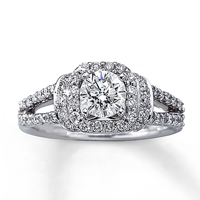 kay jewelers 1 13 ct tw halo pave split shank engagement ring 14k white - Kays Jewelry Wedding Rings