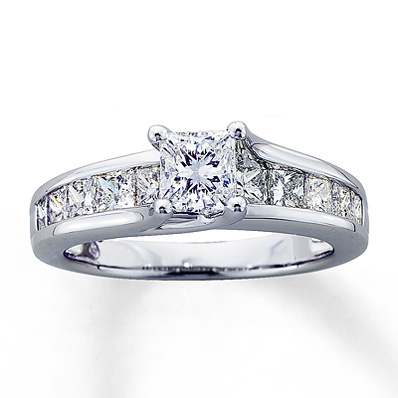 Kay Jewelers Princess Cut Engagement Ring 14k White Gold 2 Ct Tw Engagement Ring Wall
