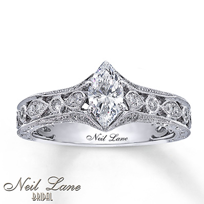 7d9a0964e Kay Jewelers Engraved Marquise Cut Engagement Ring in 14K White Gold – 3/4  ct tw | Engagement Ring Wall