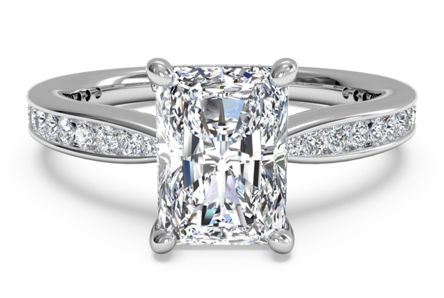 tapered engagement ring with channel set diamonds in