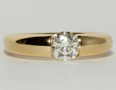 Bar Set Solitaire Engagement Ring In Yellow Gold