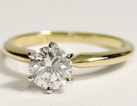 Six Prong Engagement Ring in Yellow Gold