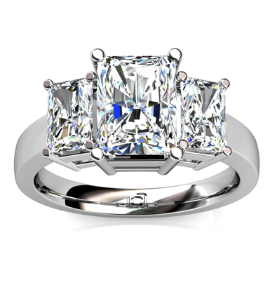 Three Stone Radiant Cut Engagement Ring Engagement Ring Wall