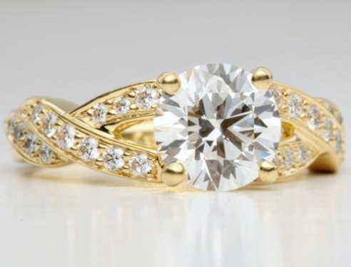 Twisted Braid Pave Engagement Ring in 18k Yellow Gold