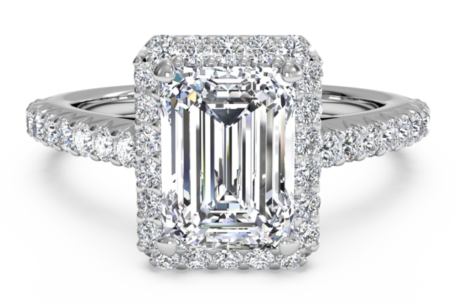French Set Halo Pave Engagement Ring In 14k White Gold