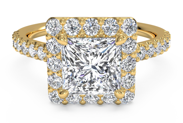 Square Halo Engagement Ring with Pave Diamonds in 18k Yellow Gold