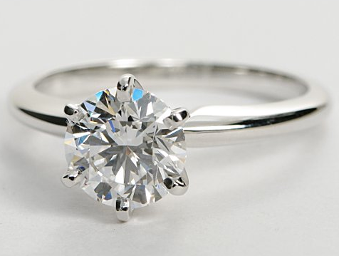 Classic Six Prong Solitaire Engagement Ring In 14k White