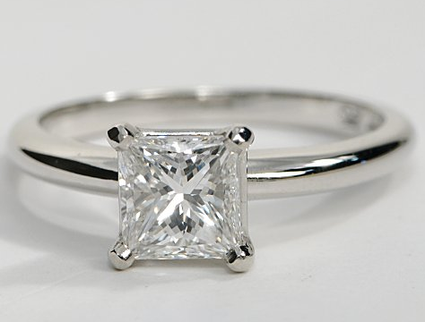 fourprong solitaire engagement ring in 18k white gold