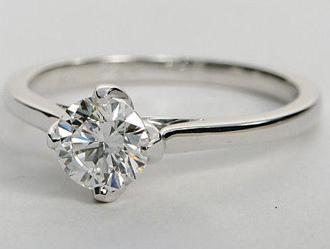 Leaf Prong Solitaire Engagement Ring In 14k White Gold