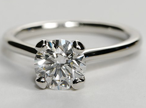 Petite Thin Shank Solitaire Engagement Ring In Platinum