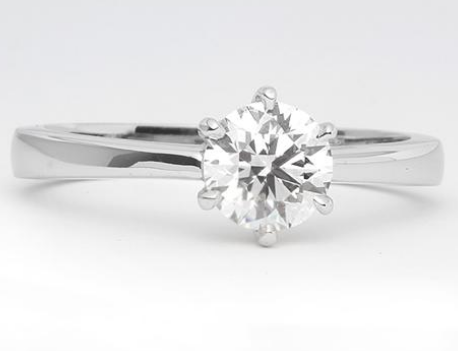Tapered Six Prong Solitaire Engagement Ring in 18k White Gold