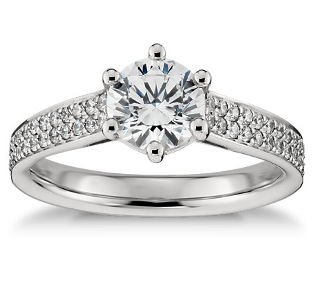 Double Row Pave Engagement Ring In Platinum