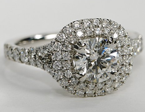 Double Halo Engagement Ring With Pave Diamonds In Platinum