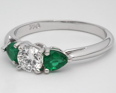 Three Stone Engagement Ring with Pear Shaped Emeralds in 18k White