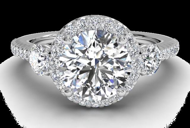 Halo Three Stone Pave Engagement Ring In Platinum