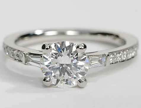 Pave Engagement Ring With Baguette Sidestones In Platinum