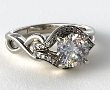 asymmetrical halo love knot engagement ring in 14k white