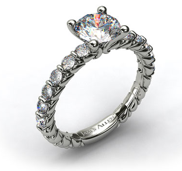Single Bar Sidestone Engagement Ring