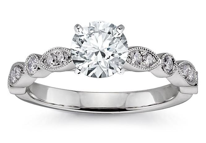 Marquise Sidestone Engagement Ring