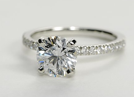 Petite Pave Engagement Ring (Thin Shank)