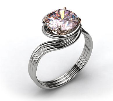 White Gold Swirl Engagement Ring
