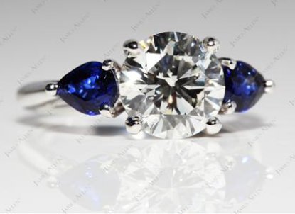 Three Stone Engagement Ring with Pear Shaped Blue Sapphires