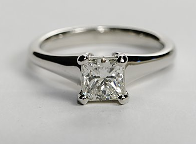 Flared Solitaire Engagement Ring