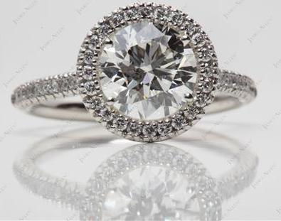 Platinum Halo Pave Engagement Ring