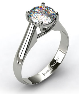 Thin Cross Prong Engagement Ring