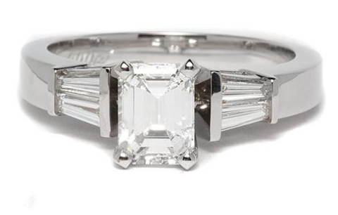 Baguette Sidestone Diamond Engagement Ring