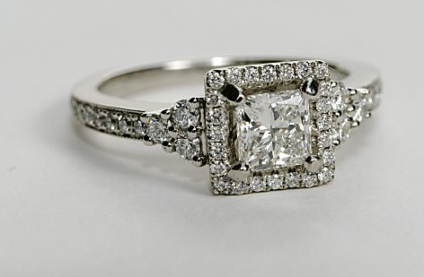 Designer Halo Princess Cut Engagement Ring