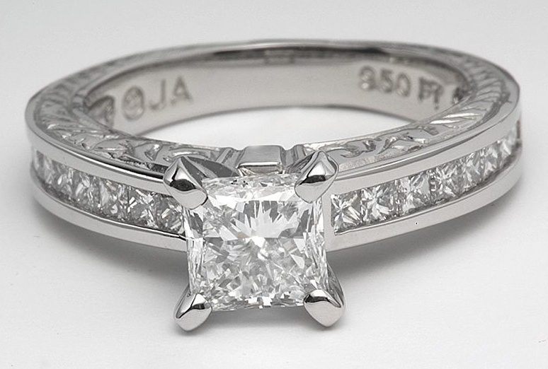 Classic Engraved Engagement Ring