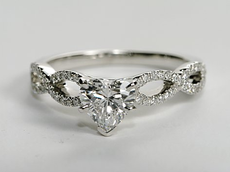 Infinity Twist Pave Engagement Ring