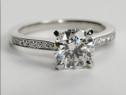Milgrained Pave Diamond Engagement Ring
