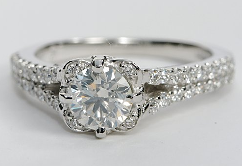 Floral Pave Engagement Ring