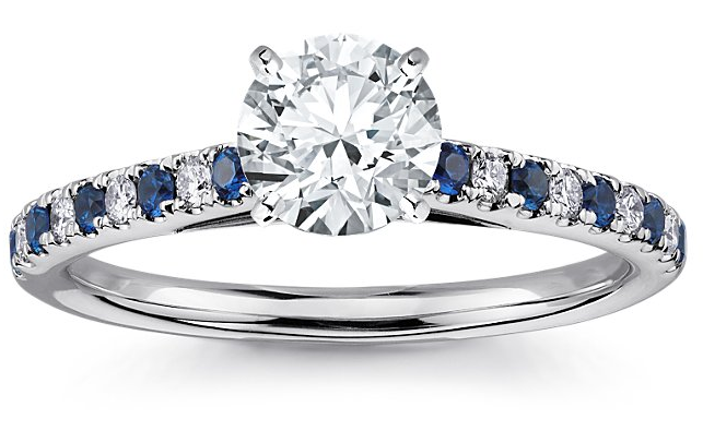 Diamond Engagement Ring with Diamond and Sapphire Sidestones