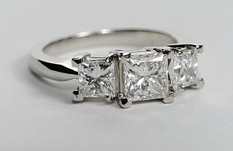 Three Stone Princess Cut Engagement Ring Engagement Ring