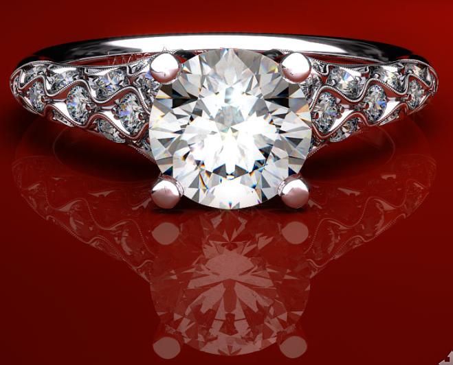 """""""Wide Shoulder"""" Vintage Pave Engagement Ring"""