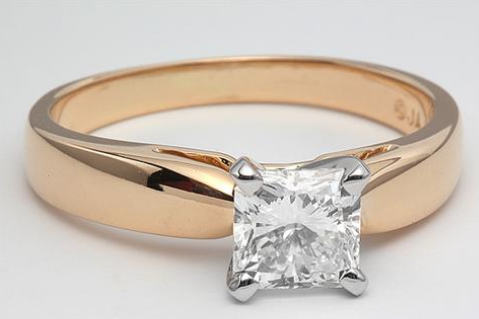 Rounded Cathedral Solitaire Engagement Ring